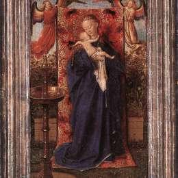 《麥當娜和孩子在噴泉》揚·凡·艾克(Jan van Eyck)高清作品欣賞
