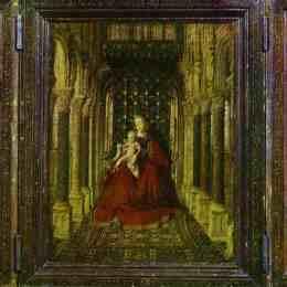 《處女與圣邁克爾,圣凱瑟琳和捐助者的孩子》揚·凡·艾克(Jan van Eyck)高清作品欣賞
