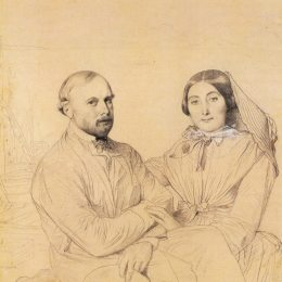《Edmond Ramel和他的妻子,出生于Irma Donbernard》讓·奧古斯特·多米尼克·安格爾(Jean Auguste Dominique Ingres)高清作品欣賞