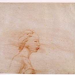 《女性胸部輪廓向右》讓·奧古斯特·多米尼克·安格爾(Jean Auguste Dominique Ingres)高清作品欣賞