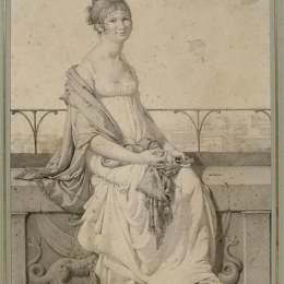 讓·奧古斯特·多米尼克·安格爾(Jean Auguste Dominique Ingres)高清作品:Portrait of miss Barbara Bansi sitting in an Italian landsca
