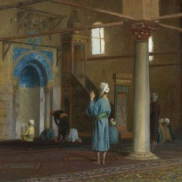 《清真寺的祈禱》讓·萊昂·熱羅姆(Jean-Leon Gerome)高清作品欣賞