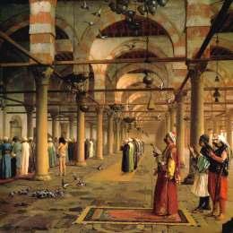 《開羅阿姆清真寺的公眾祈禱》讓·萊昂·熱羅姆(Jean-Leon Gerome)高清作品欣賞