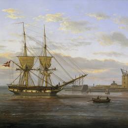 《哥本哈根港入口處》約翰·克里斯蒂安·代赫勒(Johan Christian Dahl)高清作品欣賞
