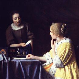 《情婦與女仆(女侍女拿著一張紙)》約翰內斯·維米爾(Johannes Vermeer)高清作品欣賞