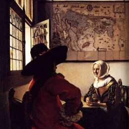 《軍官與笑聲女孩》約翰內斯·維米爾(Johannes Vermeer)高清作品欣賞