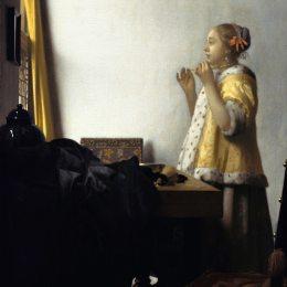 《有珍珠項鏈的少婦》約翰內斯·維米爾(Johannes Vermeer)高清作品欣賞