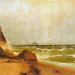 《附近的紐波特,羅得島》約翰·馮檢基·肯西特(John Frederick Kensett)高清作品欣賞