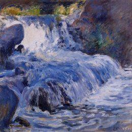 《瀑布》約翰·亨利·特瓦克特曼(John Henry Twachtman)高清作品欣賞