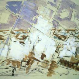 《白色,棕色和鈷綠色的運動》約翰·馬林(John Marin)高清作品欣賞