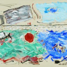 《運動:海洋,深藍色和綠色?天空,天藍色和灰色》約翰·馬林(John Marin)高清作品欣賞