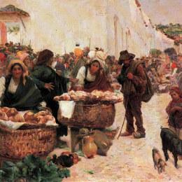 《面包師,菲格爾公司的市場》何塞·馬奧(Jose Malhoa)高清作品欣賞