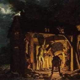 《十八世紀的鐵匠鋪》約瑟夫·萊特(Joseph Wright)高清作品欣賞