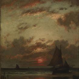 《海岸上的日落》朱班·杜雷(Jules Dupre)高清作品欣賞