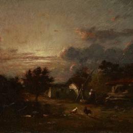 《鄉村風光,日落》朱班·杜雷(Jules Dupre)高清作品欣賞