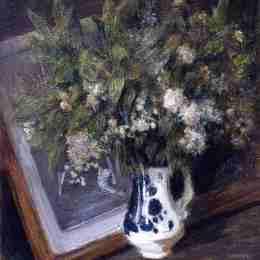 《代爾夫特水罐里的花》朱利安·奧爾登·威爾(Julian Alden Weir)高清作品欣賞