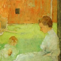 《母子》朱利安·奧爾登·威爾(Julian Alden Weir)高清作品欣賞