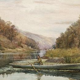 朱利安·艾斯通(Julian Ashton)高清作品:Boatman on the Hawkesbury River, at Cole and Candle Creek, n