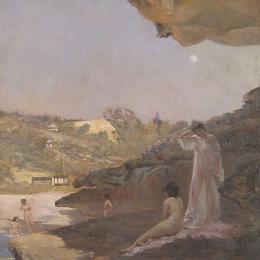 《塔瑪拉瑪海灘,四十年前,一個夏天的早晨》朱利安·艾斯通(Julian Ashton)高清作品欣賞
