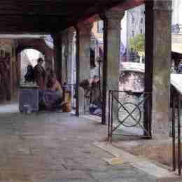 《威尼斯市場場景》朱利葉斯·勒布朗·斯圖爾特(Julius LeBlanc Stewart)高清作品欣賞