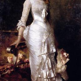 《穿著白色連衣裙的年輕美女》朱利葉斯·勒布朗·斯圖爾特(Julius LeBlanc Stewart)高清作品欣賞