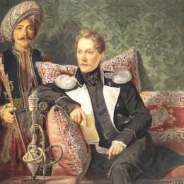《軍人和仆人的肖像》卡爾·布留洛夫(Karl Bryullov)高清作品欣賞