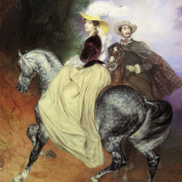 《葉的肖像。Mussart和E. Mussart。(騎手)》卡爾·布留洛夫(Karl Bryullov)高清作品欣賞