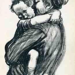 《帶孩子的母親》凱綏·珂勒惠支(Kathe Kollwitz)高清作品欣賞