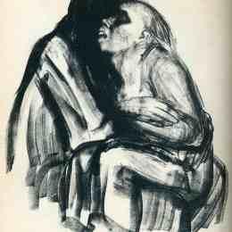 《在她膝上死去的女孩》凱綏·珂勒惠支(Kathe Kollwitz)高清作品欣賞