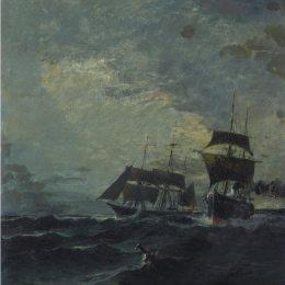 《海上的小船》康斯坦丁·沃拉納基思(Konstantinos Volanakis)高清作品欣賞