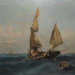 《波濤洶涌的漁船》康斯坦丁·沃拉納基思(Konstantinos Volanakis)高清作品欣賞