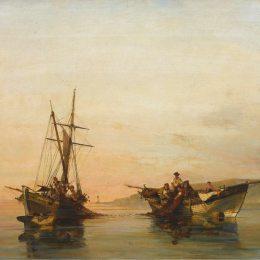 《在平靜的水面上》康斯坦丁·沃拉納基思(Konstantinos Volanakis)高清作品欣賞