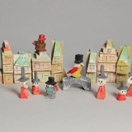 《房子和人物(戴帽子的鳥)》萊昂內爾·法寧格(Lyonel Feininger)高清作品欣賞