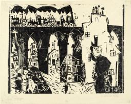 莱昂内尔·法宁格(Lyonel Feininger)高清作品:Railroad Viaduct (Die Eisenbahnbr&ampücke)