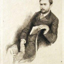 《古斯塔夫·格弗羅伊的肖像》瑪麗·布哈可蒙(Marie Bracquemond)高清作品欣賞