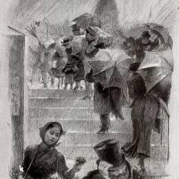 《雨傘》瑪麗·布哈可蒙(Marie Bracquemond)高清作品欣賞
