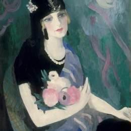 麗·羅蘭珊(Marie Laurencin)高清作品:Portrait of Baroness Gourgaud in Black Mantilla