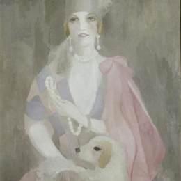 麗·羅蘭珊(Marie Laurencin)高清作品:Portrait of Baroness Gourgaud with Pink Coat