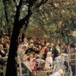 《慕尼黑的啤酒花園》馬克思·利伯曼(Max Liebermann)高清作品欣賞