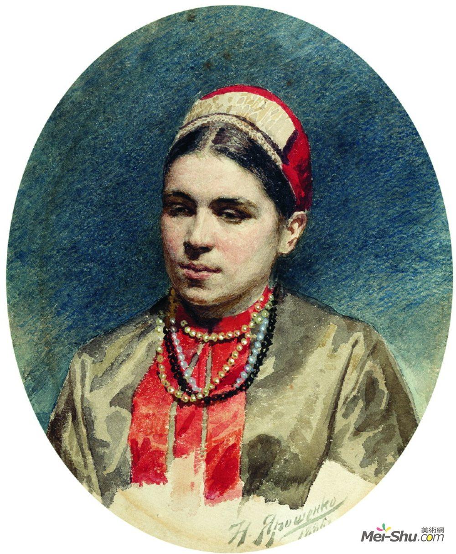 米科拉雅罗申科(Mykola Yaroshenko)高清作品《Portrait of P.Strepetova》