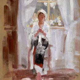 《窗邊的農民縫紉》尼古拉·格里戈里斯丘(Nicolae Grigorescu)高清作品欣賞