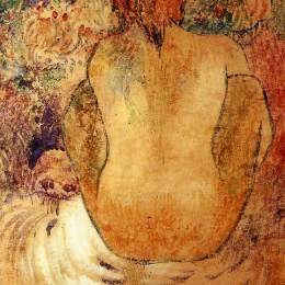 《蹲伏大溪地的女人》保羅·高更(Paul Gauguin)高清作品欣賞