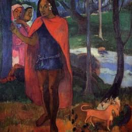 《希瓦瓦島魔法師(紅斗士馬克薩斯人)》保羅·高更(Paul Gauguin)高清作品欣賞