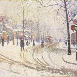 《1886年,克利希林蔭道》保羅·西涅克(Paul Signac)高清作品欣賞