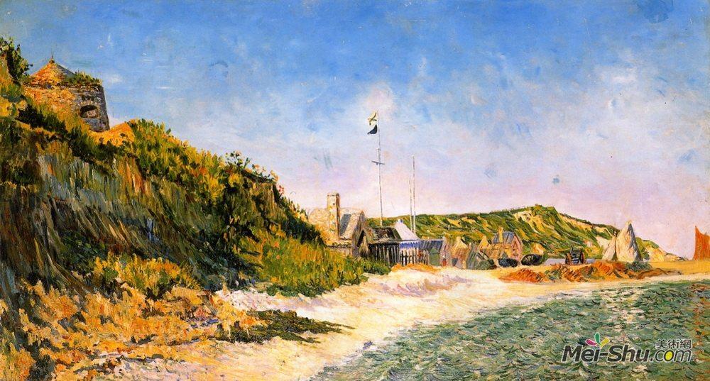 保罗·西涅克(Paul Signac)高清作品《门贝辛村,海滩》