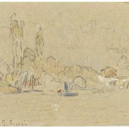 《塞維斯附近的塞納河》保羅·西涅克(Paul Signac)高清作品欣賞