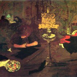 《靠近燈的年輕女子》皮爾·波納爾(Pierre Bonnard)高清作品欣賞