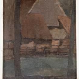 《山墻有樹的農場》皮特·蒙德里安(Piet Mondrian)高清作品欣賞