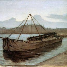皮特·蒙德里安(Piet Mondrian)高清作品:Evening at Weesperzijde Sun