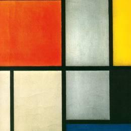 《畫面3與橙色 - 紅色,黃色,黑色,藍色和灰色》皮特·蒙德里安(Piet Mondrian)高清作品欣賞